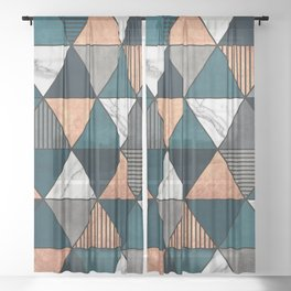 Copper, Marble and Concrete Triangles 2 with Blue Sheer Curtain
