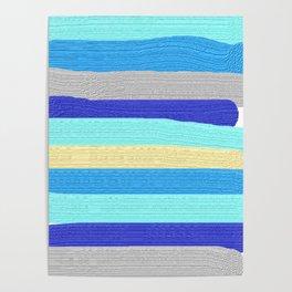 Ocean Blue Painter's Stripes Poster