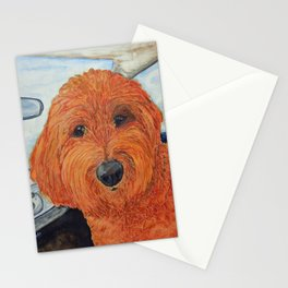Goldendoodle in the Car Stationery Cards