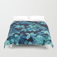 stickers Duvet Covers featuring Hand Painted Floral Pattern in Teal & Navy Blue by micklyn