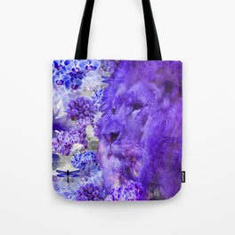 LION AND ORCHIDS  PURPLE AND BLUE FANTASY DREAM Tote Bag