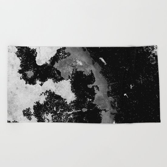 Lost In The Mystery - Abstract, black and white painting Beach Towel