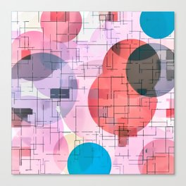 geometric square and circle pattern abstract in red pink blue Canvas Print
