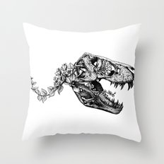 Jurassic Bloom - The Rex.  Throw Pillow