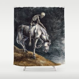 Skeleton Riding a Pale Horse Shower Curtain