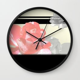 Pink & Grayscale Flower Collage Wall Clock
