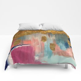 Gold Leaf & Indigo Blue Abstract Comforters