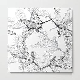Leaves contours on a white background. floral seamless pattern, hand-drawn Metal Print