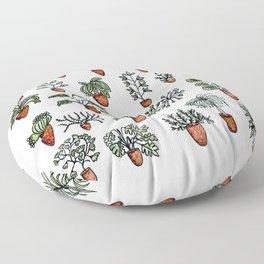Succulent Houseplants in Terracotta Pots, Watercolor Cacti & Plant Wall Art Floor Pillow