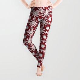 Snowflakes on Red Leggings