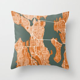 SEATTLE City Map | Minnesota US | Orange | More Colors, Review My Collections Throw Pillow