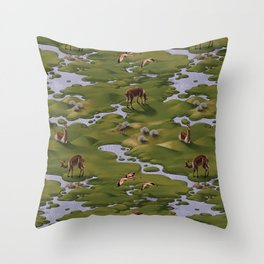 Vicuñas and Flamingoes Throw Pillow