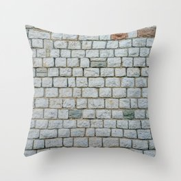 Wall of white bricks and other colors Throw Pillow
