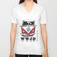 volkswagon V-neck T-shirts featuring WWJD ?   What  Would Jesus Drive ? by BulldawgDUDE