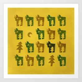 Woodragons Pattern Art Print
