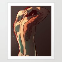tattoos Art Prints featuring Wing Tattoos by rdjpwns