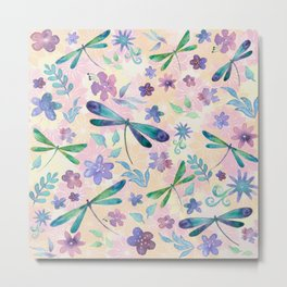 Dragonflies and Flowers Watercolor Pattern Spring Background Metal Print