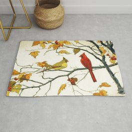 Vintage Japanese Drawing, Cardinals on an Autumn Branch Rug