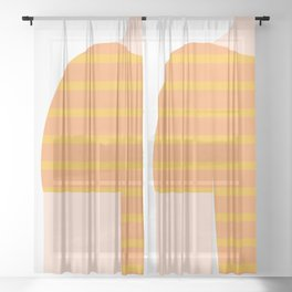 Yellow & White T-Shirt Sheer Curtain