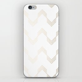 Simply Deconstructed Chevron White Gold Sands on White iPhone Skin