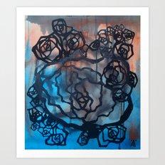 Brick and marine roses Art Print