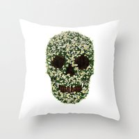 pushing daisies Throw Pillows featuring Pushing up Daisies by Luke Dwyer - Artist