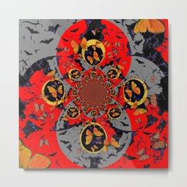 BUTTERFLIES &  BLACK BATS  RED ART Metal Print