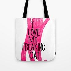I love my freaking cat - magenta Tote Bag