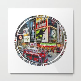 Times Square New York City Badge Metal Print
