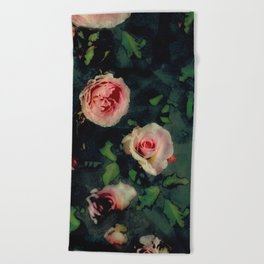 Big Pink Roses and Green Leaves Graphic Beach Towel