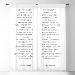 Life quote, F. Scott Fitzgerald Quote - For what it's worth Blackout Curtain
