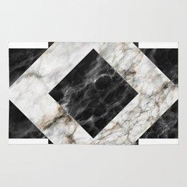 Gold foil white black marble #3 Rug