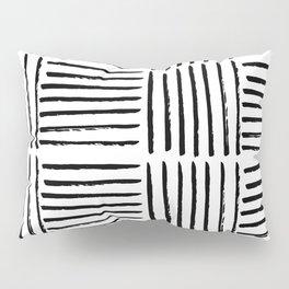 Modern black white watercolor paint brushstrokes Pillow Sham
