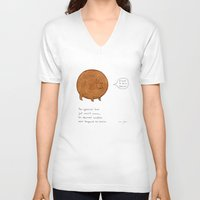 stickers V-neck T-shirts featuring the spherical bear by Marc Johns