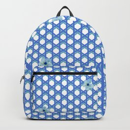 Blue Wicker with Blue Flowers Backpack
