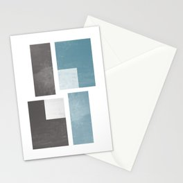 Modern Abstract No. 47  No. 2 : Blue-Gray + Brown Stationery Cards