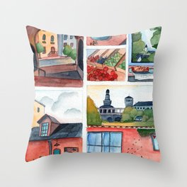 Collection of dreamy street corners Throw Pillow