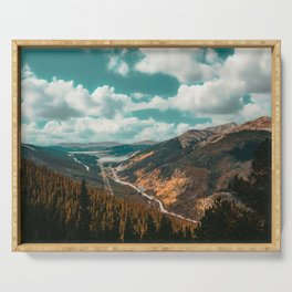 High Above // Teal Blue Sky Autumn Fall Color Woodlands in Colorado Serving Tray