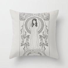 Reine des Cygnes (Grey) Throw Pillow