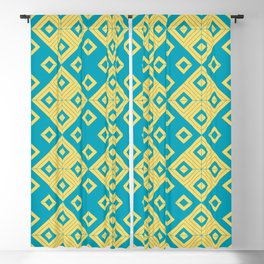 Diagonal squares in teal and yellow colours Blackout Curtain