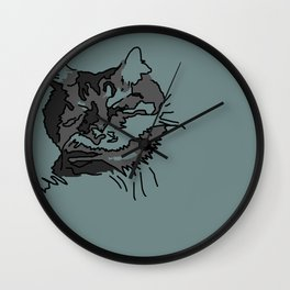 Turquoise Sleeping Cat Wall Clock