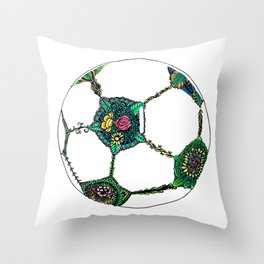 Floral Soccer Ball Throw Pillow