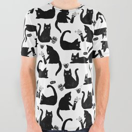 Bad Cats Knocking Stuff Over All Over Graphic Tee