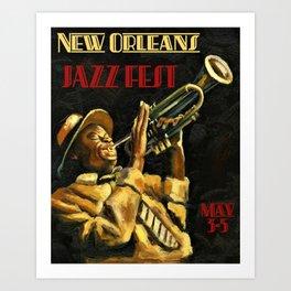 Vintage New Orleans Jazz Festival Advertising Wall Art Art Print
