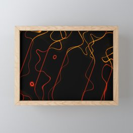 Abstract orange red vertical wavy lines Framed Mini Art Print