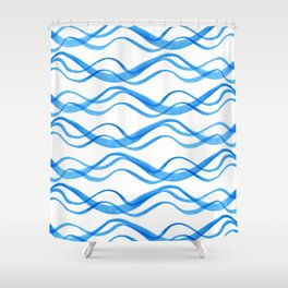 Wave ~ blue watercolor pattern Shower Curtain