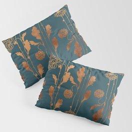 Art Deco Copper Flowers  Pillow Sham