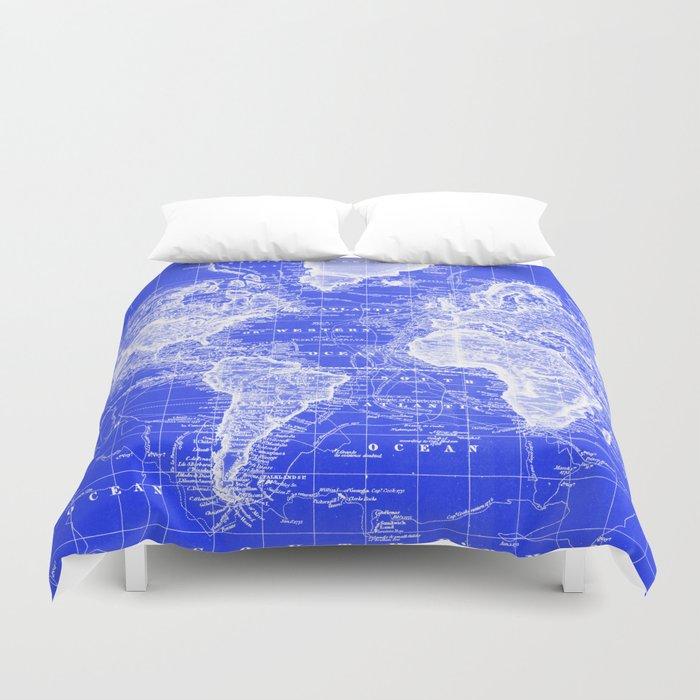 Vintage Map of The World (1833) Blue & White Duvet Cover