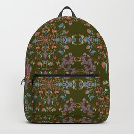 silver filigrane, floral design,tapestry,home decor,romantic, embroidery, flowers, royal  Backpack