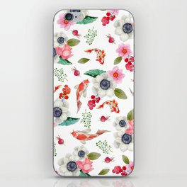 Modern pink red watercolor tropical floral koi fish pattern iPhone Skin